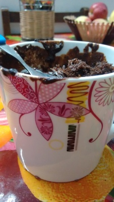 Enjoying the mug cake in this pretty mug
