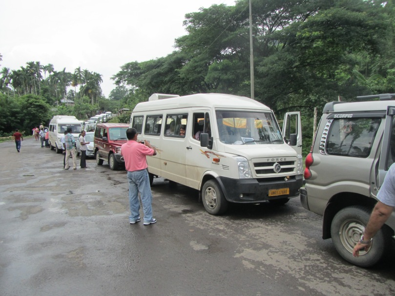 Long line of vehicles waiting for the Convoy