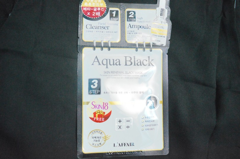 laffair aqua black 3-step skin renewal black mask