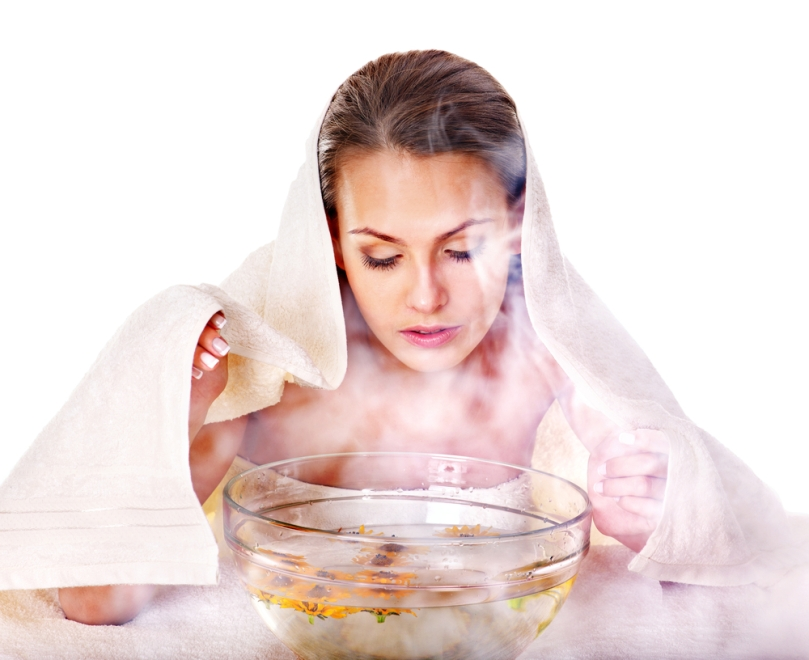 Facial steam with essential oil