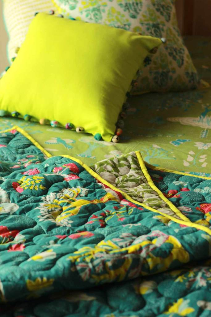 WONDERLAND QUILT DOUBLE DEEP GREEN L 100 X W 90 IN (2)